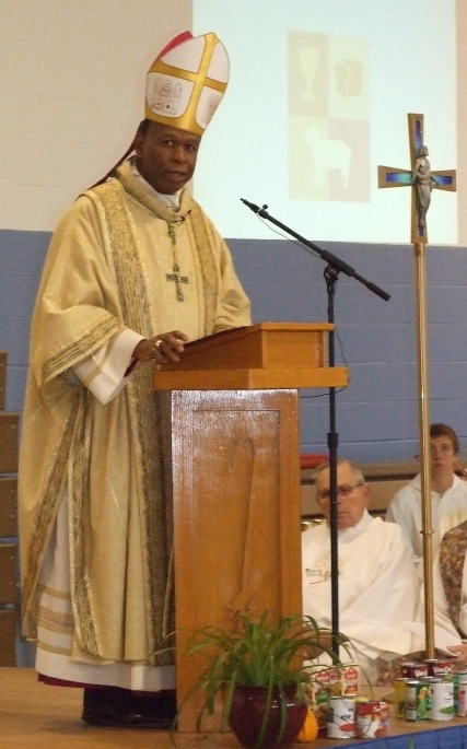 Bishop Braxton gives a reflective homily to those attending the Thanksgiving Mass at