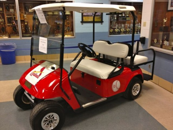 The Mothers & Friends are selling raffle tickets for customized golf cart.  Tickets can purchased at home basketball games. winner announced at auction in March.