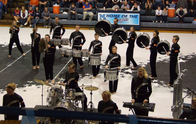 The Mater Dei Drumline performed at halftime of the last home basketball game on February 17.
