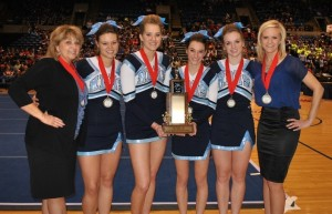 MD seniors (l to r) Jessica Peters, Jade Beckmann, Clare Chiarolanza, and Haley Johnson made up the newly formed Stunt Team that took 2nd Place at the Illinois Cheerleading Coaches Association competition. The team was coached by Sandy Bonvie and Amber Rankin.