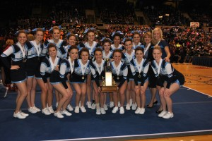 Taking 3rd Place at the Illinois Cheerleading Coaches Association competition was the Mater Dei Varsity squad which includes (front row) Olivia Zachry, Mary Jo Hollenkamp, Emily Deeba, Clare Chiarolanza, Grace Timmermann, Lexi Nash, Sarah Koopmann, (back row) Larissa Jacob, Haley Johnson, Jade Beckmann, Paige Kniepmann, Jessica Peters, Alexis Cusumano, Renee Rivera, Kayla Mattson, Kelsey Knolhoff, Coach Sandy Bonvie, and Coach Amber Rankin.