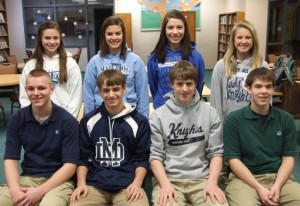 Students of the Quarter for the 2nd quarter are (l to r) freshmen Sam Krebs and Abby Haag, sophomores Jacob Hitpas and Shannon Schuetz, juniors Jonah Toennies and Spencer Murphy, and seniors Alex Gebke and Maddy Mensing.