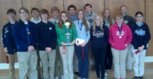Members of the Mater Dei WYSE Team that took 2nd Place at the McKendree sectionals include (front) Adam Holbrook, Drew Logullo, Zoe Timmermann, Hannah Albers, Anna Lampe, Mackenzie McCray, Elizabeth Medlin, (back) Josh Wieter, Ian Bruening, Luke Foppe, Zach Peek, Ben Lampe, Shannon Mensing, and Michele Thole. The team will compete at the state level in April.
