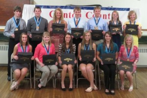 Seniors who represented Mater Dei at the Clinton County Academic Banquet were (sitting) Shelby Toennies, Mackenzie McCray, Clare Chiarolanza, Shannon Mensing, Jennifer Luebbers, Anna Lampe, (standing) Nathan Huelsmann, Ryan Patton, Jade Beckmann, Luke Foppe, Adam Richter, Kari Wiegmann, and Michele Thole. The Clinton County Academic Excellence Banquet was held on April 29, honoring the top ten percent of each senior class from the four high schools in Clinton County.