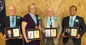 Inducted into the Mater Dei Hall of Honor on May 3 were (l to r) Mr. Roman Kloeckner, Dr. Angela Holbrook, Mr. Delmont Kloeckner, and Dr. Chris Rivera.