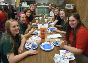 Members of Mrs. Chiarolanza's and Mrs. Goetz's mentor groups were treated to a year-end pizza party at lunch on Monday, May 13. Enjoying their pizza are Anisah Thole, Emily Bowen, Paris Hempen, Amanda Boeckman, Lucy Gonzalez, Lexi Renschen, Melanie Mensing, Lindsay McCray, Brooke Remmert, Maya Hubbs.