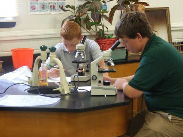 Sophomore Biology class learn the basic principles of using a microscope.