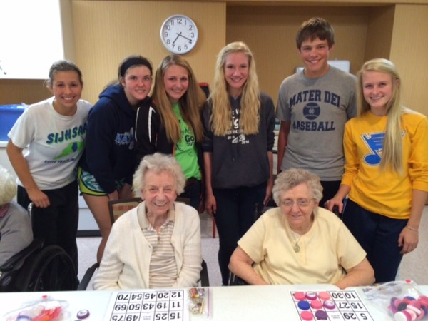 Members from the FBLA participate with residents from the Countryside Manor.