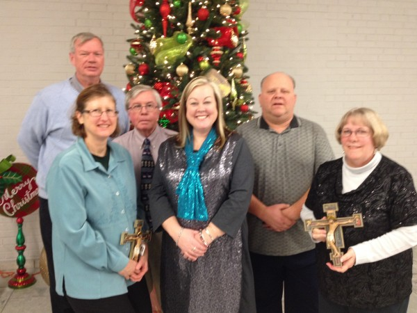 MD staff gets recognized at the annual Christmas party for their years of service. Vicki Moylan (20 years), Dave Kohnen (20 years), Jim Goetz (20 years), Christine Gramann (20 years), Jim Karpel (15 years), and Deb Foote (25 years). Not pictured Maria Zurliene (15 years), Brian Perkes (20 years), and Tom Hustedde (35 years).