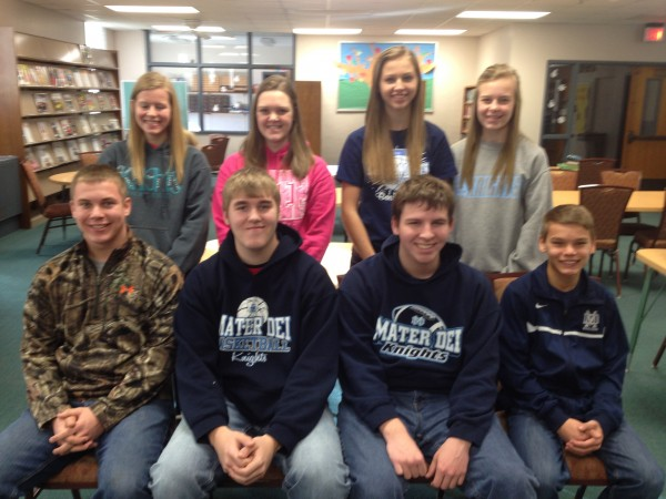 Mater Dei High School has announced its 'Students of the Quarter for the 2nd quarter of the 2013-14 school year. Front row: Lucas Buchmiller, Zach Deiters, Dominick Thomas, and Alex Loepker. Back Row: Lindsay Ratermann, Elizabeth Dorries, Natalie Horstmann, and Sophia Lager.