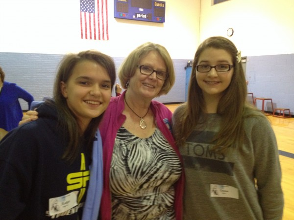 Mrs. Connie Frierdich visits with two incoming students from the Class of 2018 at the 'Freshman Welcome'