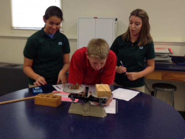 Students from Mrs. Gramann's Biology Class participate in  lab exercise.