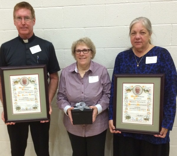 MD faculty members were  recognized for their years of service in Catholic Education at the Diocesan Liturgical Convention.  Fr. Chuck Tuttle (40 years), Deb Foote (25 years), and Rosemary Huelsmann (40 Years).