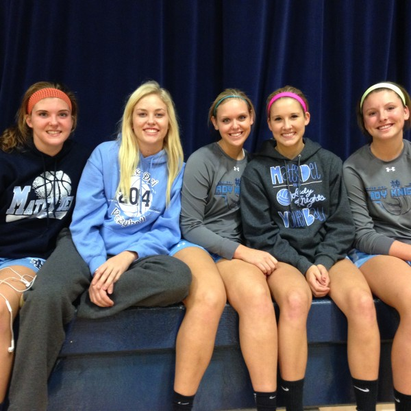Volleyball senior girls before their last home game of the season.