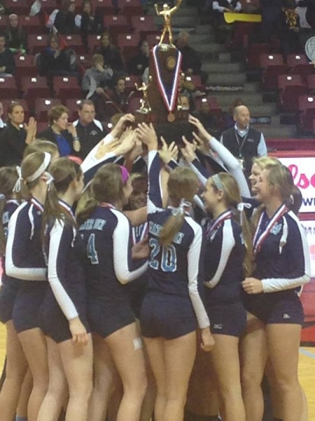 Lady Knights win third place at IHSA State Volleyball Tournament.