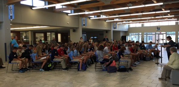 The freshman class of 2019 are welcomed to their first day of high school.