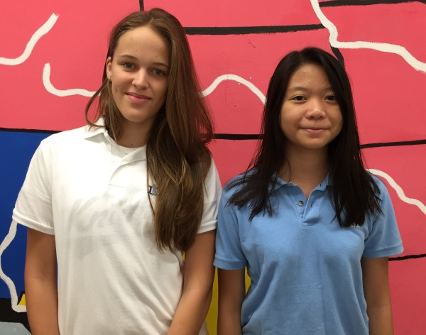 Foreign exchange students Lara Montane from Spain and Minh Le from Vietnam will spend the 2015-16 school year at Mater Dei Catholic High School.
