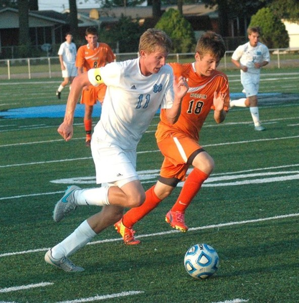 Nick Pollmann controls the ball during a recent 4-0 victory over Wesclin.