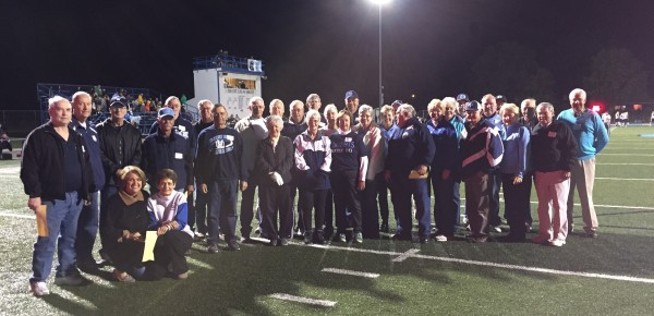 Mater Dei 'Golden Knights' recognized at halftime of homecoming football game.