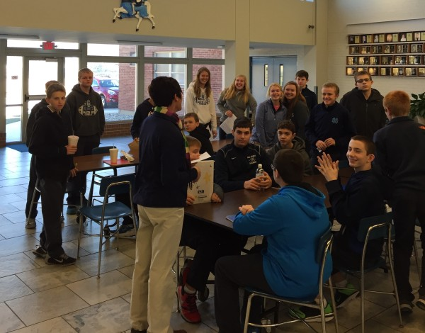 All Saints Academy students socialize at lunch on MD campus after taking a tour of the school.