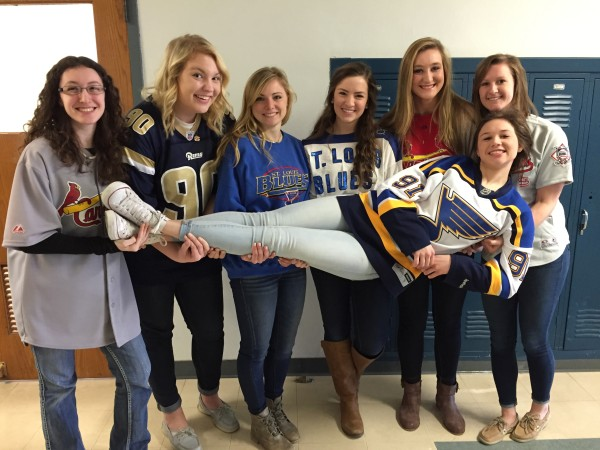 Mater Dei students have fun during Catholic Schools Week by supporting their favorite sports teams .
