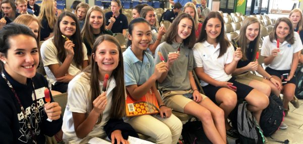 The freshmen enjoyed popsicles to close their first day, which was filled with multiple activities.