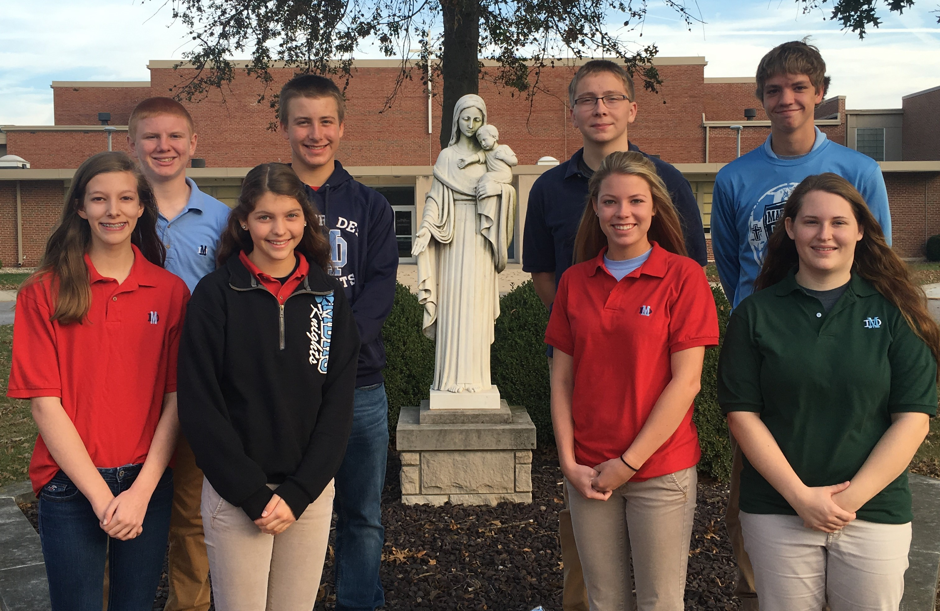 The Students of the Quarter (left to right): freshmen Hannah McSparin and Kyle Billhartz, sophomores Carly Etter and Dennis Trickey, juniors Lauren Kampwerth and Drew Potthast, and seniors Sarah Maller and Logan Albers.